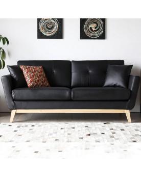 Canapé rétro-scandinave 3 places noir en cuir reconstitué Hoga et 2 coussins