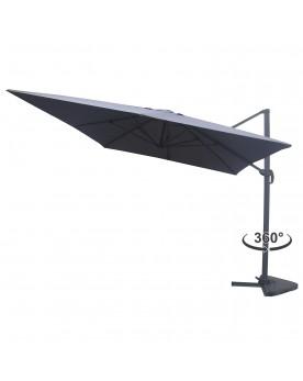 Lumpur gris - Parasol déporté rectangulaire 3x4m rotatif à 360°