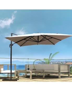 Calvia Ecru Parasol rectangulaire équipé de LED 4x3M