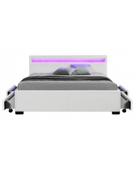 Palms - Cadre de lit à led avec rangement blanc 160x200cm