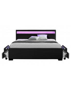 Palms - Cadre de lit à led avec rangement noir 140x160cm