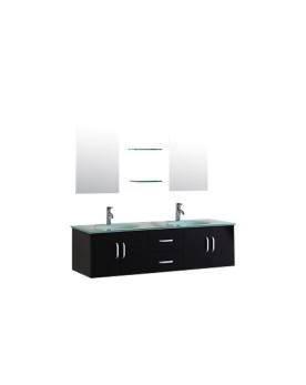 Daya - ensemble de meuble +2 vasques + 2 miroirs pour salle de bain - Wengé