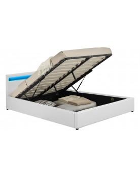 Arleta - Cadre de lit à led avec coffre blanc 140x190cm