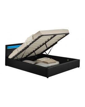 Arleta - Cadre de lit à led avec coffre noir 140x190cm