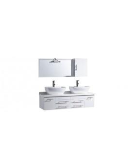 Tervi - ensemble meubles + 2 vasques +1 miroir pour salle de bain - Blanc