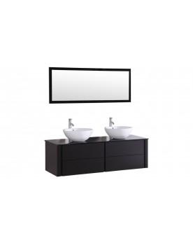 Subla - ensemble meuble + 2 vasques + 1 miroir pour salle de bain - Wengé