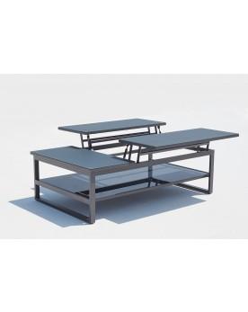 Lloca : table basse de jardin rectangulaire & dépliable en aluminium