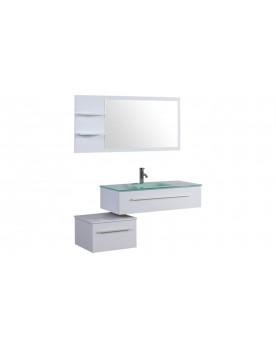Essiba - ensemble 2 meubles + 1 vasque + 1 miroir pour salle de bain - Blanc