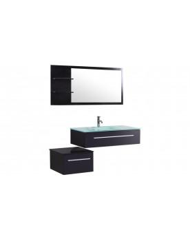 Essiba - ensemble 2 meubles + 1 vasque + 1 miroir pour salle de bain - Wengé