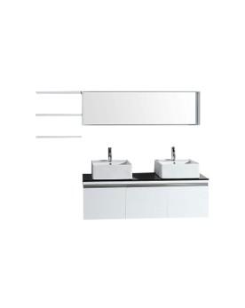 Oggia - ensemble meuble +2 vasques + 2 miroirs pour salle de bain - Blanc
