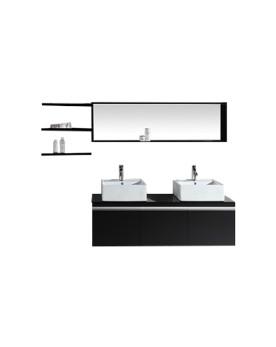 Oggia - ensemble meuble +2 vasques + 2 miroirs pour salle de bain - Wengé