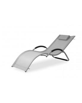 Nice : transat gris en aluminium et textilène