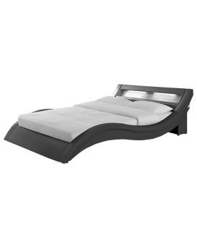 Venice - Cadre de lit smili cuir avec LED gris 140x190cm