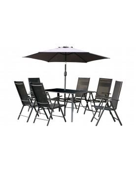 Sullana 6 place - Ensemble de jardin et parasol