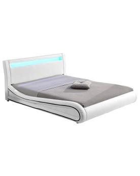 Gardena - Cadre de lit simili cuir avec LED blanc 160x200cm