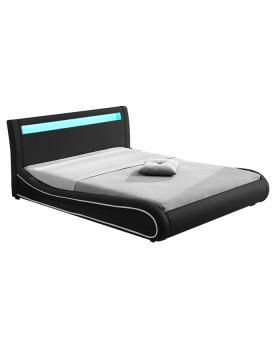 Gardena - Cadre de lit simili cuir avec LED noir 140x190cm
