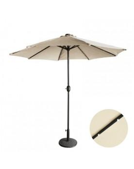 Luminia Bulle écru : parasol LED solaire droit et rond Ø270 cm