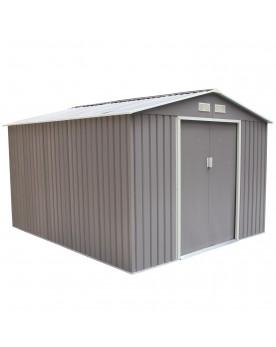 Rangeo 8.84 m² : abri de jardin en metal anti-corrosion couleur taupe