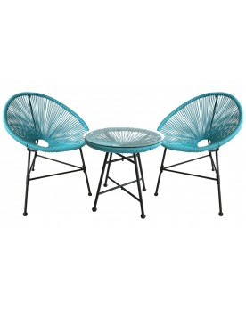 Acapulco bleu - Ensemble chaise œufs et table