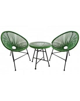 Acapulco vert - Ensemble chaise œufs et table