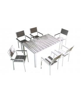 Cusco 6 places - Ensemble de jardin aluminium et polywood