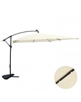 Corbara Bulle écru : parasol LED solaire déporté 3x3m