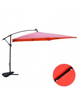 Corbara Bulle terracotta : parasol LED solaire déporté 3x3m
