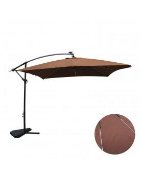 Ocana Néon chocolat : parasol LED solaire déporté 3x3m