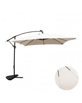 Ocana Néon écru parasol LED déporté 3x3m