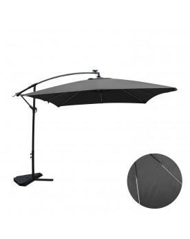 Ocana Néon gris : parasol LED solaire déporté 3x3m