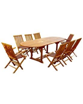 Garang 10/12 - Ensemble de jardin teck - Table ovale 6 chaises et 2 fauteuils