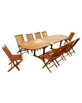 Garang 12/14 - Ensemble de jardin teck - Table ovale 10 chaises