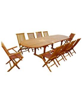 Garang 12/14 - Ensemble de jardin teck - Table ovale 8 chaises et 2 fauteuils