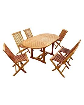 Garang 6/8 - Ensemble de jardin teck - Table ovale 6 chaises