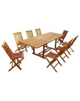 Garang 10/12 - Ensemble de jardin teck - Table rectangle 8 chaises
