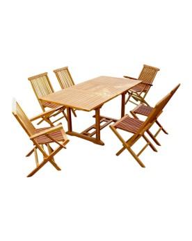 Garang 6/8 - Ensemble de jardin teck - Table rectangle 4 chaises 2 fauteuils