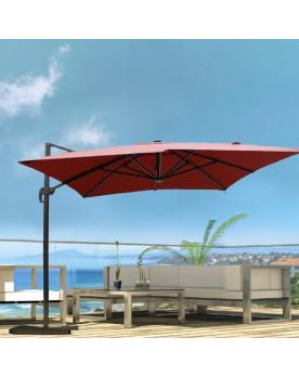 Calvia Terracotta Parasol rectangulaire équipé de LED 4x3M