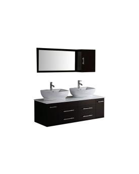 Tervi - ensemble meubles + 2 vasques +1 miroir pour salle de bain - Wengé