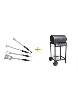Herculis - Barbecue à gaz 2 brûleurs avec ustensiles offerts