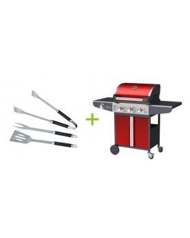 Eridani - Barbecue à gaz 3 brûleurs avec ustensiles inclus