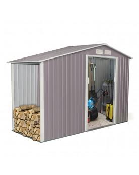 Woody 3.53 m² : abri de jardin avec abri bûches en metal anti-corrosion gris