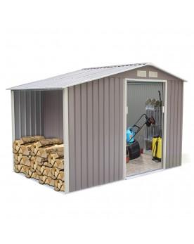 Woody 5.31 m² : abri de jardin avec abri bûches en metal anti-corrosion gris