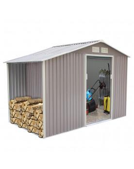 Woody 6.53 m² : abri de jardin avec abri bûches en metal anti-corrosion gris