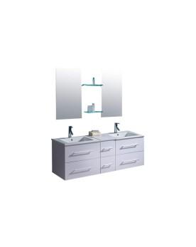 Lezio - ensemble meuble + 2 vasques + 2 miroirs pour salle de bain - Blanc