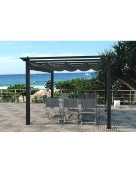 Verone gris 9 m² : tonnelle autoportante 3 x 3 m, structure aluminium et toile polyester