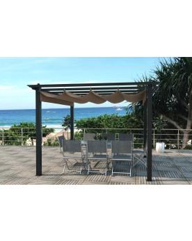 Verone taupe : tonnelle autoportante 3 x 3 m, structure aluminium et toile polyester