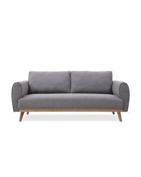 Vigel gris clair : canapé scandinave 3 places avec pieds en bois