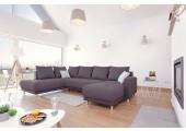 Canapé d'angle convertible et panoramique gris anthracite - Minty