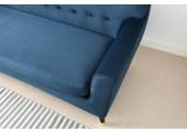 canapé en velours bleu 3 places charlotte