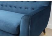 canapé velours bleu 3 personnes charlotte